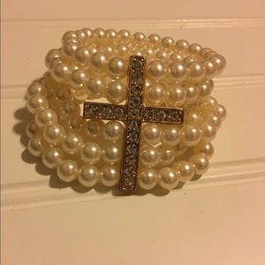 Pearl and Cross bracelets